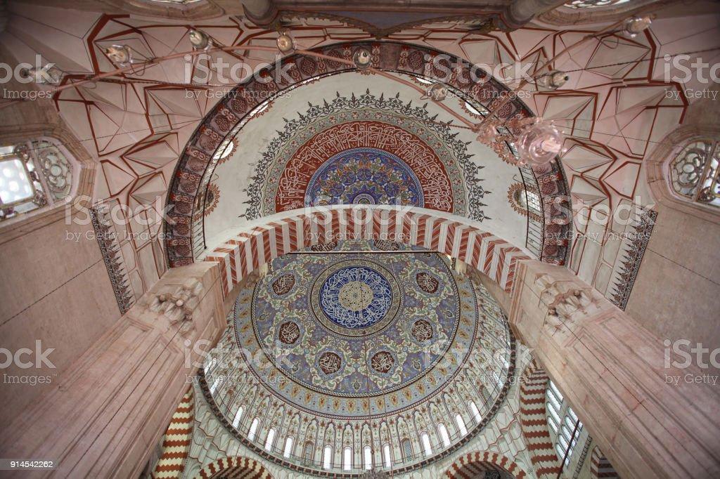 Interior of Selimiye Mosque,Edirne, Turkey stock photo