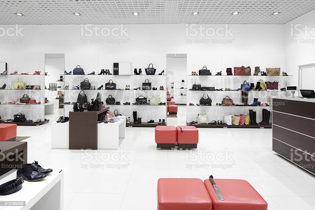 interior of shoe store in modern european mall stock photo