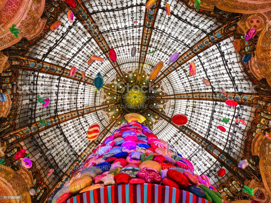 Interior of shopping center Galeries Lafayette located boulevard Haussmann in Paris. stock photo