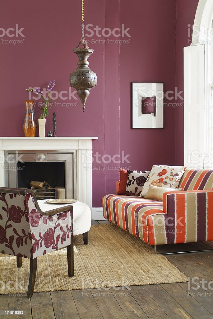 . Interior Of Sofa Chair And Ornaments In Livingroom Stock Photo