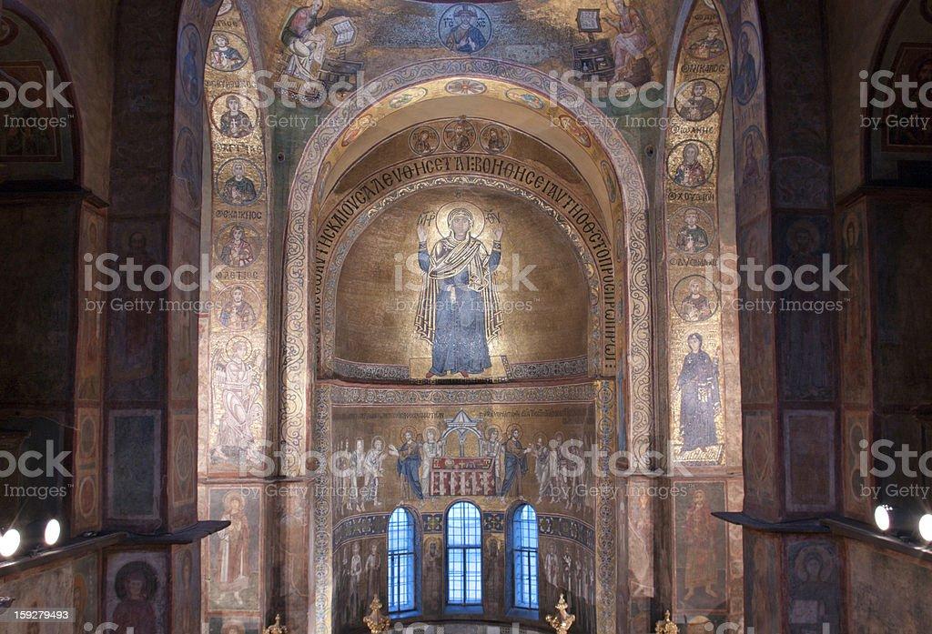 Interior  of Sofia Cathedral in Kiev stock photo