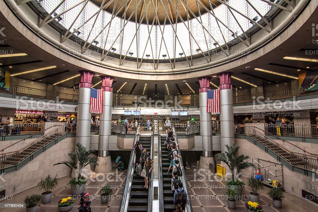 Interior of South Station bus terminal in Boston stock photo