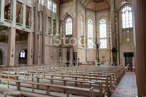 Kevelaer, Germany - Sept 5, 2020: Big hall with benches in St Anthony's Church for church services