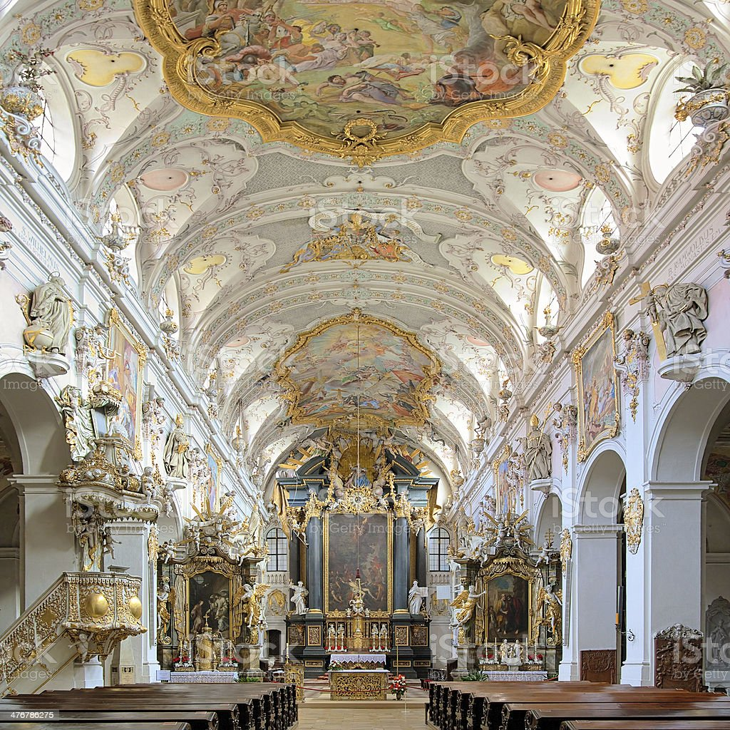 Interior of St. Emmeram's Basilica in Regensburg, Germany stock photo