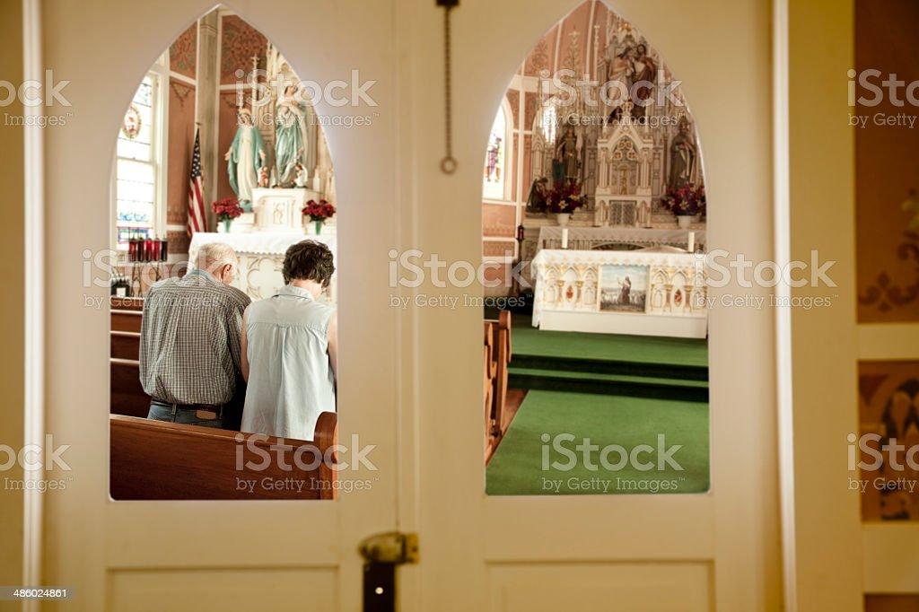 Interior de São João Batista Igreja Católica.  Ammannsville, Texas - foto de acervo
