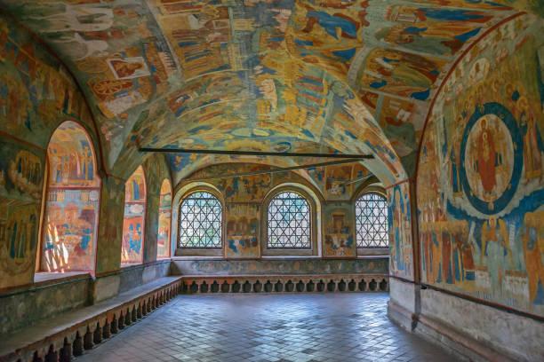 Interior of St. John the Baptist Church, Yaroslavl, Russia stock photo