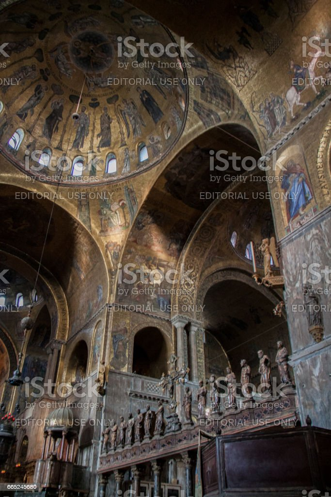 Interior of St. Mark's Cathedral, Venice, Italy stock photo