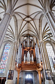ERFURT, GERMANY - OCTOBER 4, 2010:  Interior of St. Mary's Cathedral in Erfurt, Thuringia, Germany, with historical pipe organ