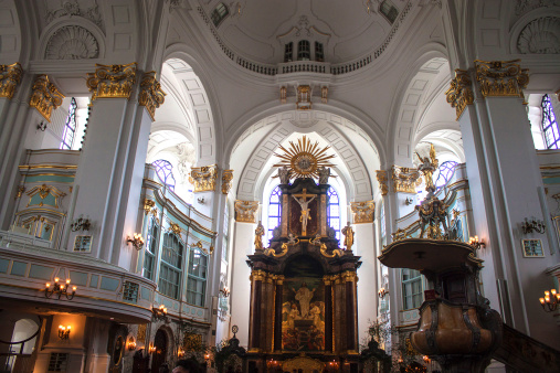 Interior of St. Michaelis church in Hamburg