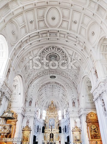 Munich, Germany - June 28, 2019: Interior of St. Michael's Church in Munich. St Michael is a Jesuit church. The style of the building had an enormous influence on Southern German early Baroque architecture.