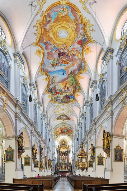 Interior of St. Peter's Church in Munich, Germany stock photo