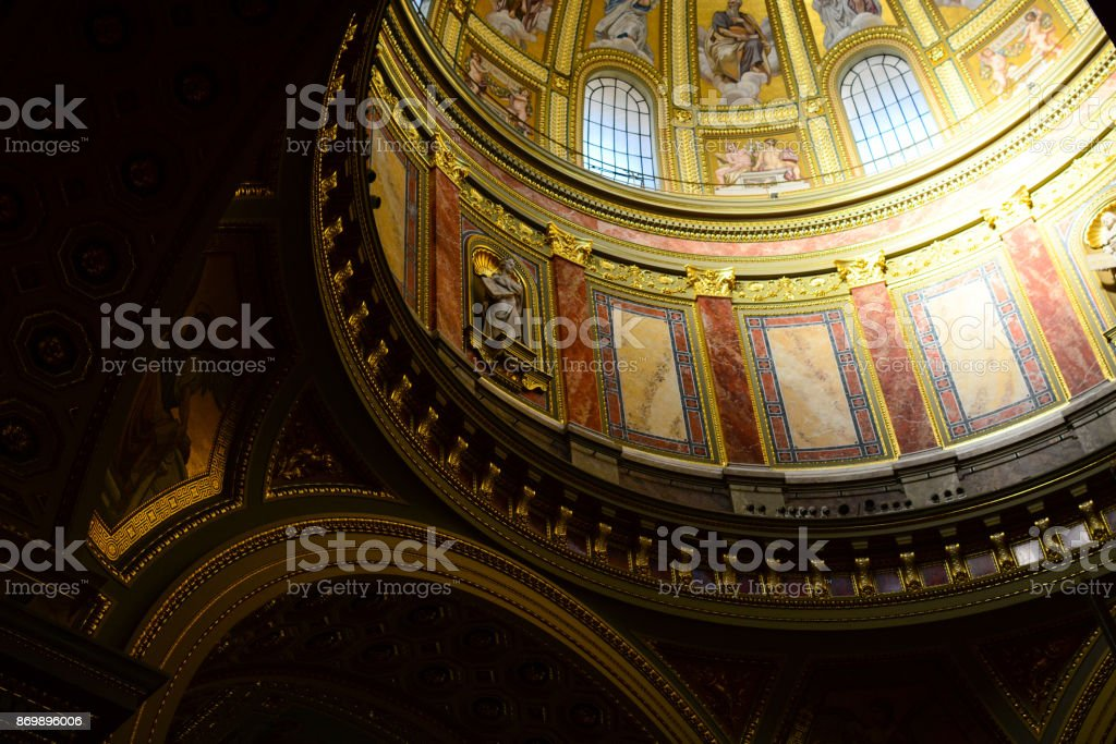 Interior of St. Stephen's Basilica in Budapest, Hungary stock photo