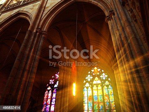 istock Interior of St. Vitus Cathedral, Prague, Czech Republic 495832414
