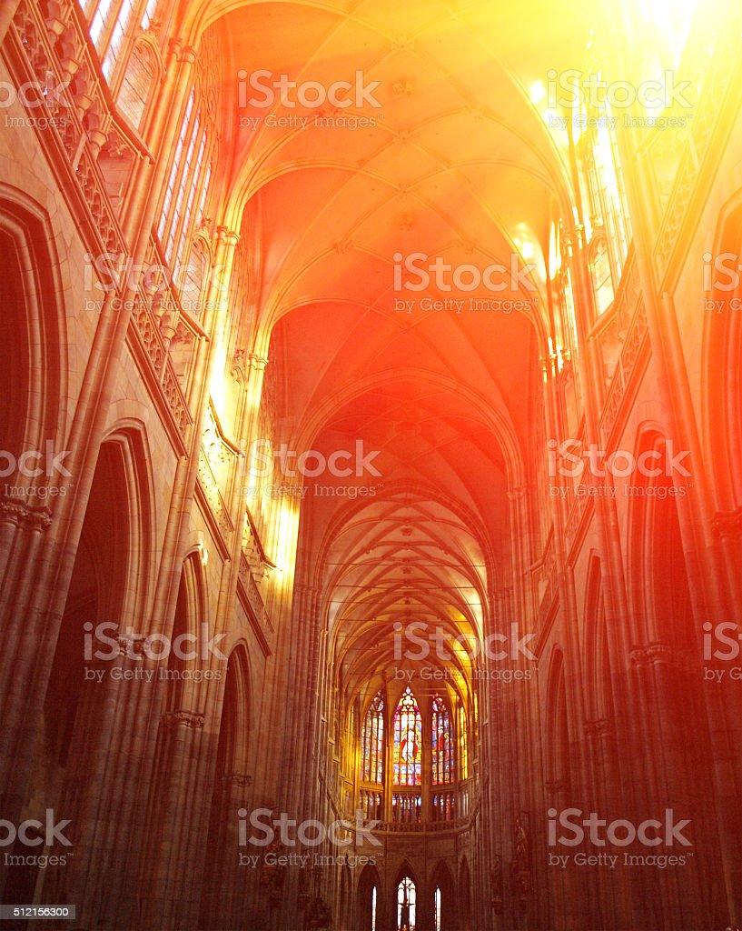 Interior of St. Vitus Cathedral, Prague, Czech Republic stock photo