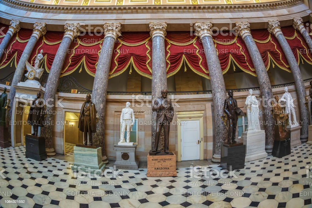 Interior of Statuary Hall in the US Capitol building, washington DC, USA Washington DC: large angle view at interior of Statuary Hall in the US Capitol building. Architectural Column Stock Photo