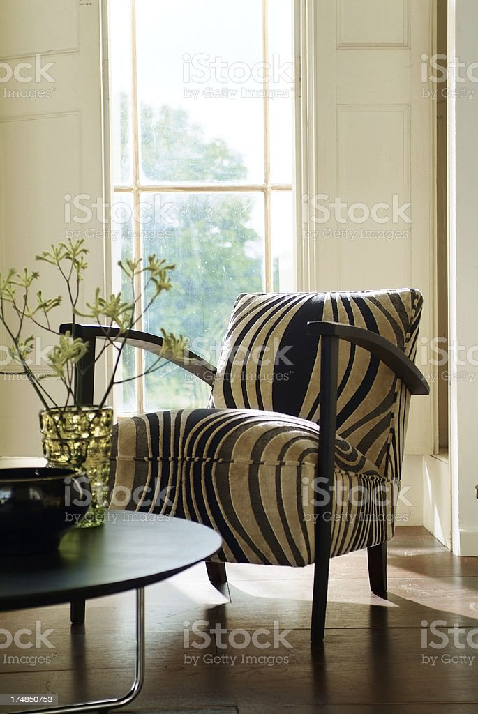 Interior of stylish chair In Window stock photo