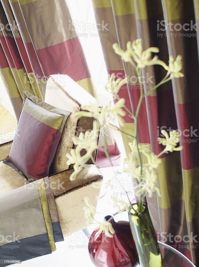 Interior of stylish chair In Window stock photo