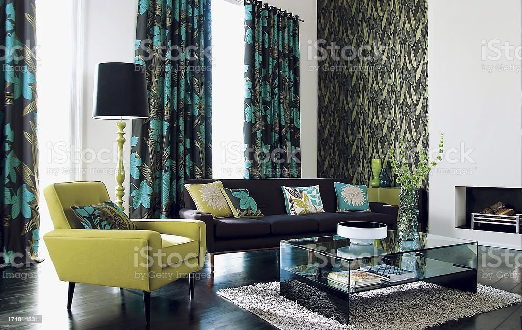 Interior of stylish sofa in a modern livingroom stock photo