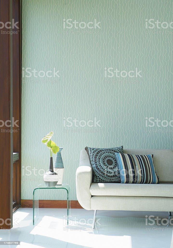 Interior of stylish sofa in a modern livingroom stock photo
