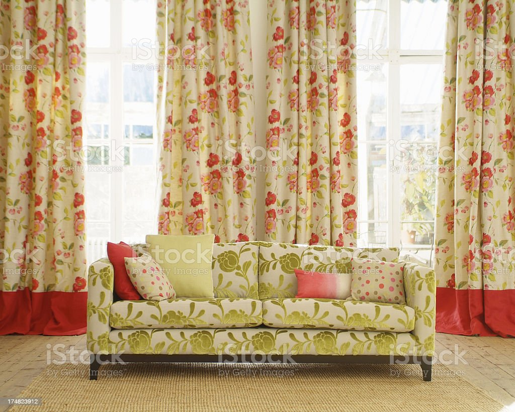 Interior of stylish sofa in a traditional livingroom royalty-free stock photo