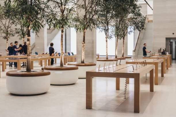 Interior of The Apple Store on Regent Street, London, that recently had a refurbishment. stock photo