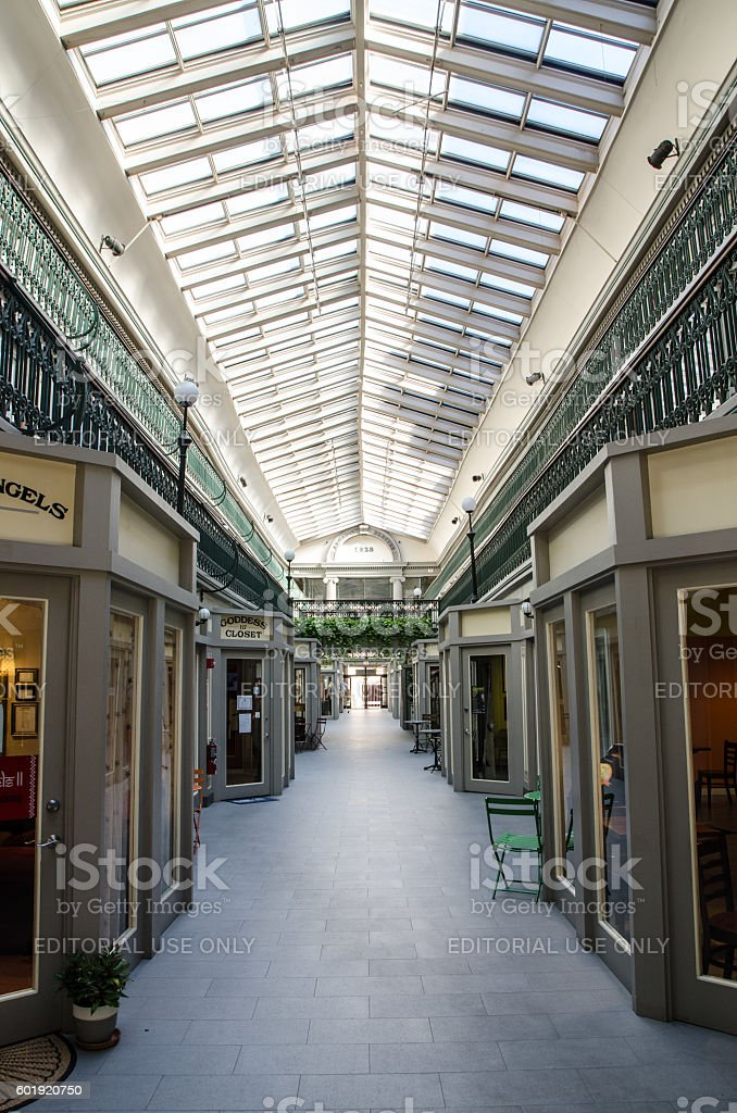 Interior of the Arcade shopping mall in Providence, Rhode Island stock photo