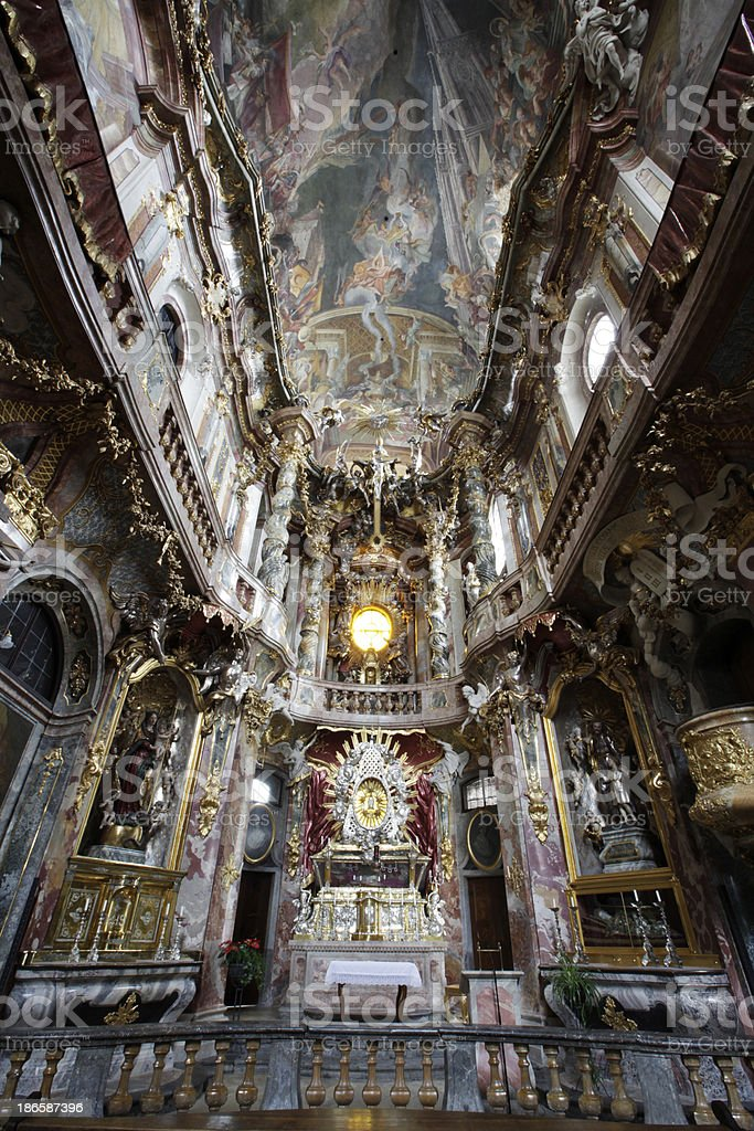 Interior of the Asam Church in Munich royalty-free stock photo
