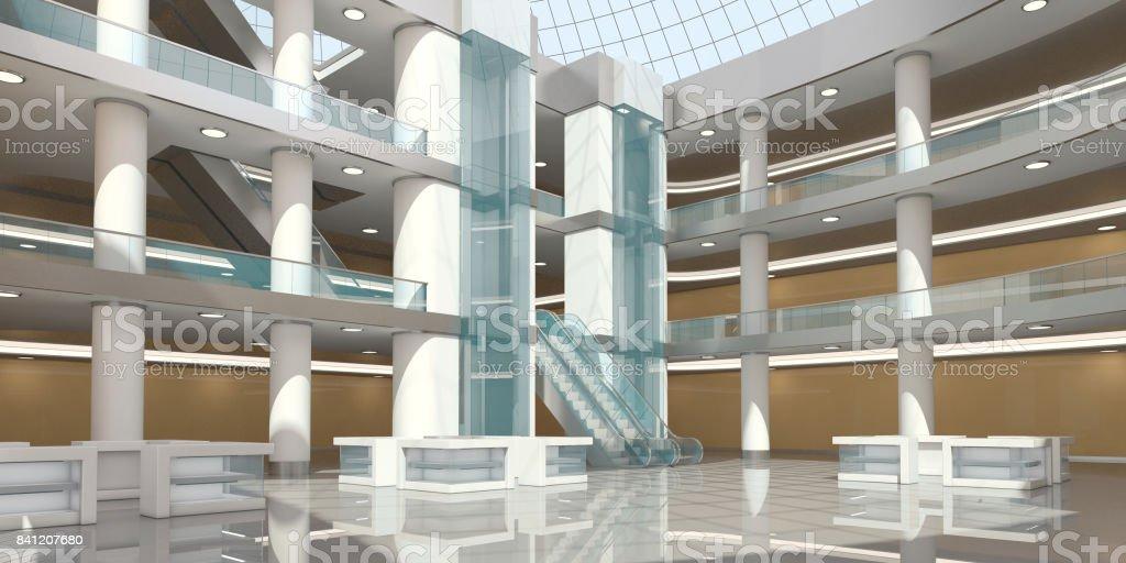 Interior of the atrium of the shopping center stock photo