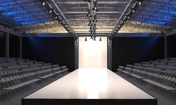 Interior of the auditorium with empty podium for fashion shows. Fashion runway before beginning of fashionable display. 3D visualization. ramp stock pictures, royalty-free photos & images