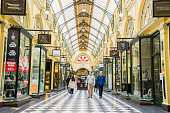 Melbourne, Australia - September 5, 2015:  View of the interior of The Block Arcade, a heritage shopping mall in Melbourne, with people going shopping.