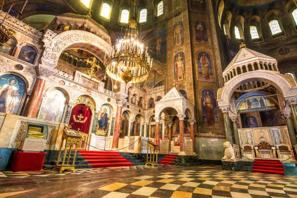 Inneres der Kathedrale des Heiligen Alexander Newski in Sofia, Bulgarien – Foto