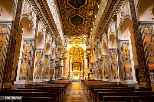 Amalfi, Italy - February 4, 2019: Interior of the Cathedral of St Andrea in Amalfi in Italy