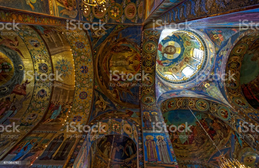 Interior of the Cathedral of the Resurrection of Christ in Saint Petersburg, Russia. Church of the Savior on Blood stock photo