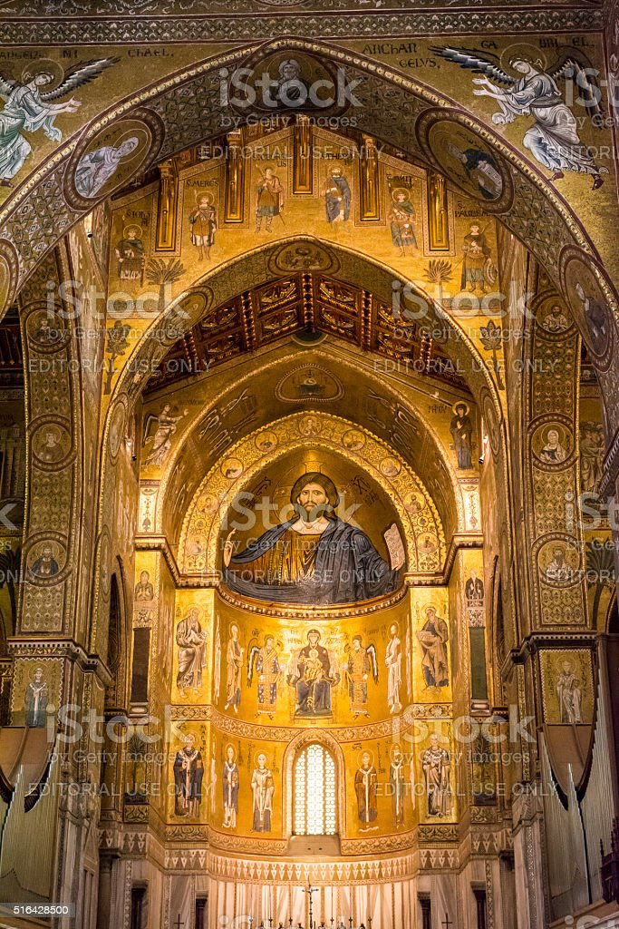 Interior of the cathedral Santa Maria Nuova of Monreale stock photo