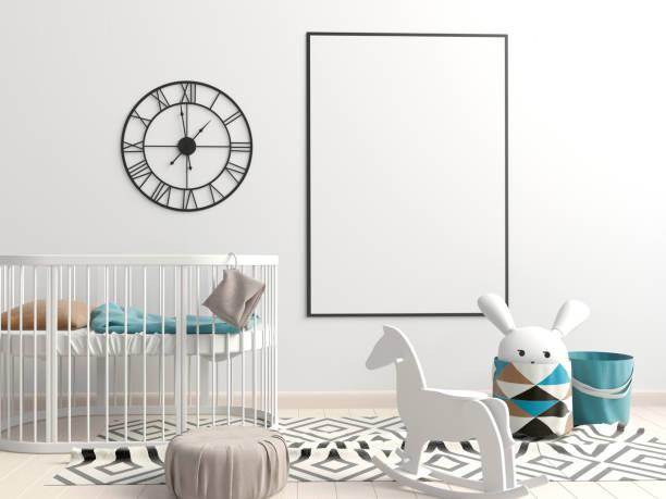 innere der childroom. schlafplatz. 3d illustration. mock-up poster - pferde schlafzimmer stock-fotos und bilder
