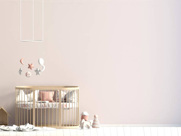 Innere der Childroom. Schlafplatz. 3D Illustration. Mock-up Wand – Foto