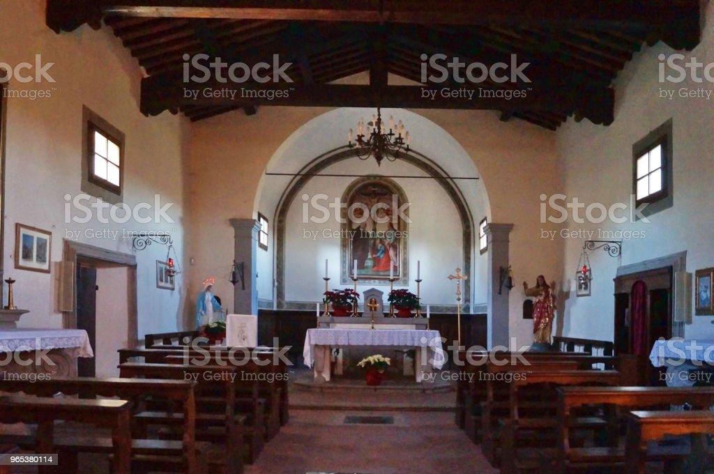 Interior of the church of Borro village; Tuscany zbiór zdjęć royalty-free