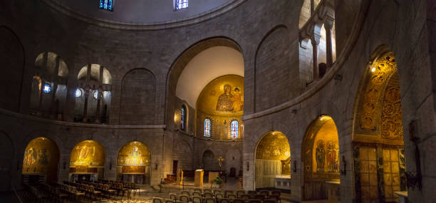 Interior of the Church of Dormition Abbey on Mount Zion in Jerusalem, Israel Jerusalem, Israel - June 16, 2018: Interior of the Church of Dormition Abbey on Mount Zion in Jerusalem, Israel. historical palestine stock pictures, royalty-free photos & images