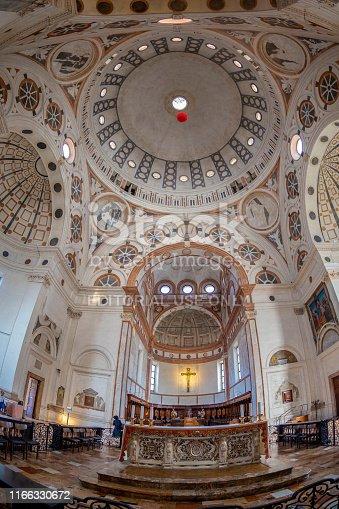 Milan: The interior of the church of Santa Maria delle Grazie, also famous for fresco of Leonardo da Vinci, Last Supper.