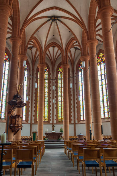 Interior of the Church of the Holy Spirit in Heidelberg. It was first mentioned in 1239. stock photo