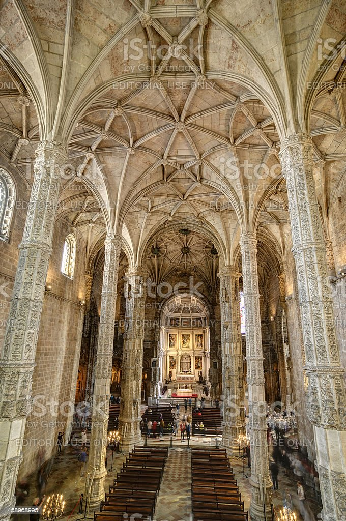 Interior of the church St. Jeromes Monastery, Lisbon, Portugal royalty-free stock photo