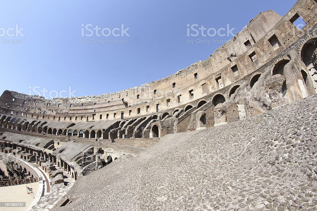 interior of the Colosseum ancient Roman amphitheatre where brave stock photo