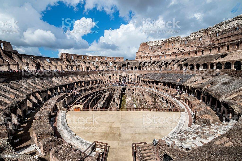 Interior of the Colosseum stock photo