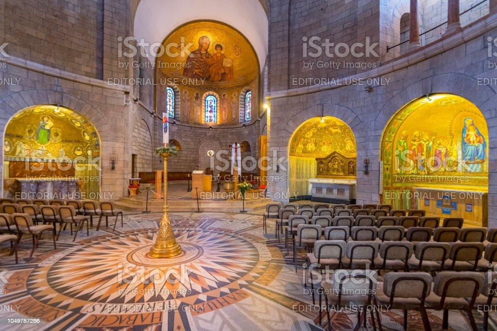 interior de la Dormition Abbey en el Monte Sión en Jerusalén, Israel. - foto de stock