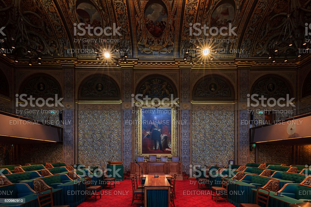 interior of the Dutch First Chamber stock photo