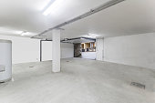 Interior of the empty garage in the residential house.