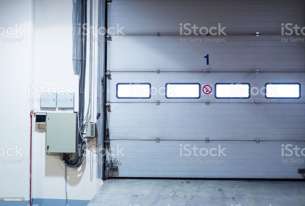 Interior of the empty garage in the residential house. stock photo