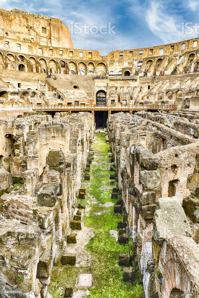 Interior of the Flavian Amphitheatre, aka Colosseum in Rome, Italy stock photo