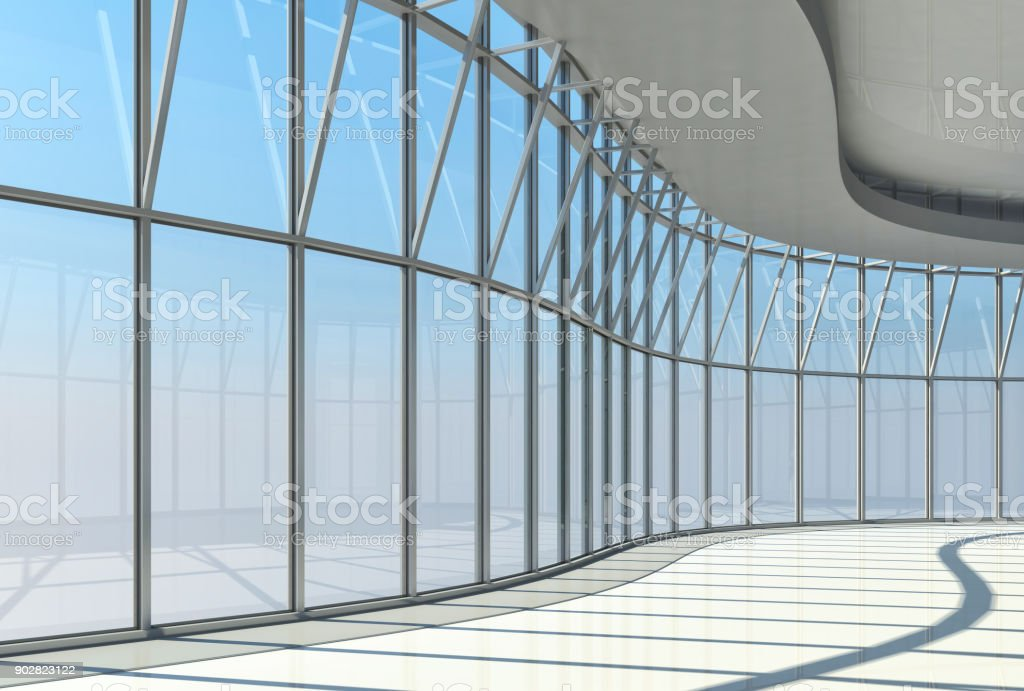 Interior of the glazed atrium of the high-rise building stock photo
