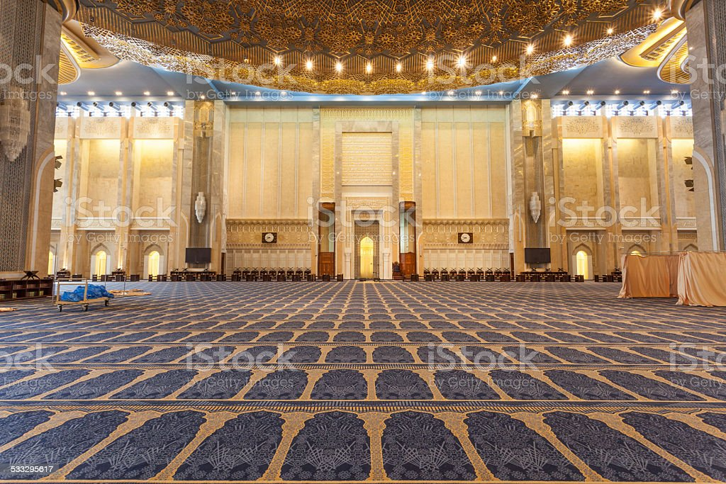 Interior of the Grand Mosque in Kuwait stock photo